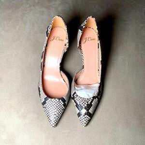 J.Crew Womens Lucie Pumps Snake-Embossed Leather